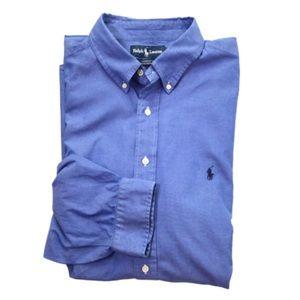 Ralph Lauren Blue LS Button Down Shirt 18 34/35